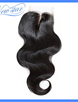 sin olor químico 6a nuevo cierre la tapa del cordón de la onda del cuerpo del pelo humano virginal remy brasileño estrellas 4 * 4 parte