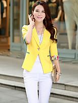 Women's Red/Black/Yellow/Purple Blazer , Casual/Party Shirt Collar ½ Length Sleeve