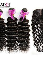 4pcs onda profunda cabelo virgem encaracolado muito peruana com fecho 3Bundles Remy não transformados tramas de cabelo humano com fecho de