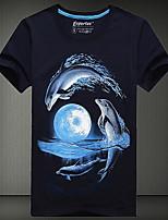 Men's European Style 3D Dolphin Printing T-Shirt (Cotton)