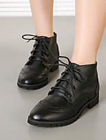 Women's Shoes Faux Leather Low Heel Combat Boots/Pointed Toe Boots Casual Black
