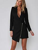 Women's Solid White/Black Blazer , Sexy V Neck Long Sleeve