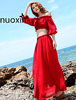 nuoxin® Women's Dew Shoulder Sexy Blouse+  Fashion Very Long Dress Suits And Separates