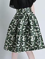 Women's Floral Green Skirts , Casual/Print Knee-length Zipper