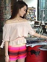 Women's Vintage/Sexy/Casual/Cute/Party/Work Micro-elastic Short Sleeve Regular Blouse (Chiffon)