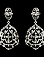 Vintage Women's Big Earrings  Diamond  Silver Earring For Wedding Bridal