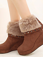 Women's Shoes Fleece Wedge Heel Snow Boots/Round Toe/Closed Toe Boots Casual Black/Brown/Gray