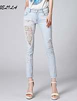 Women's Casual Thin Lace Middle Waist Jeans Skinny Pants(Without Belt)
