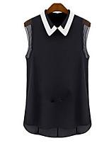 Women's Solid White/Black Shirt , V Neck Sleeveless Tassel/Split
