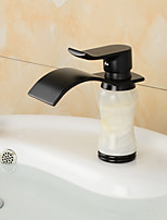 Contemporary Waterfall Brass Imitation jade Oil-rubbed Bronze Bathroom Sink Faucet -Black(Gloden)