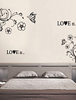 Wall Stickers Wall Decals Style Black Flower Vine Butterfly PVC Wall Stickers