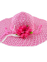 Fashion Trendy Multi-colors Hanging With Flower Decoration Wide Straw Hat