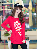 Women's Print Red/White/Black T-shirt , Round Neck Long Sleeve Ruched