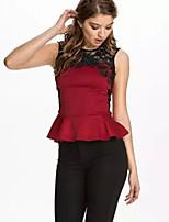 Women's Sexy Casual Lace Cute Plus Sizes Micro Elastic Sleeveless Regular Shirt (Cotton)