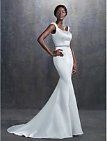 Trumpet/Mermaid Wedding Dress - Ivory Court Train Square Satin