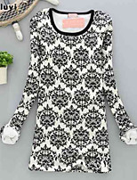 Women's Casual/Print Micro-elastic Long Sleeve Regular T-shirt (Cotton/Fleece)