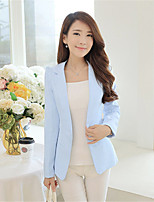 Women's Solid Blue/Pink/White/Black Blazer , Casual Shirt Collar Long Sleeve