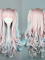Heat Resistant Long Candy White Pink Blue Mix Wigs Fluffy Long Wavy Curly 2 Clips Lolita Wig Anime Wigs Hair Cosplay Wig