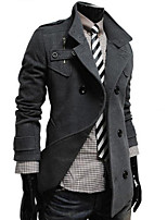 Men's Casual/Formal Pure Long Sleeve Long Trench coat (Cotton Blend)