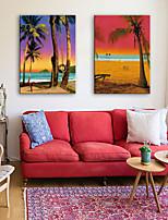 e-Home® opgespannen doek kunst strand landschap decoratief schilderen set van 2
