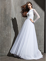 A-line Wedding Dress - White Sweep/Brush Train Jewel Lace/Tulle