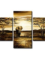 Hand-Painted Modern Abstract Elephant Giraffe Vintage African Landscape Oil Painting on Canvas  3pcs/set No Frame