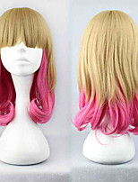 2015 Fashion Sexy Womans Girls Wig Blonde Pink Mixed LongWavy Hair Heat Resistant Full Hair Cosplay Party Wigs