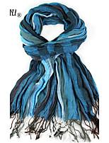 LA BEAU 4 Color Winter Style Striped Tassel Viscose Scarf