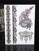 4PCS Tatouage Black Temporary Tattoo Sticker Taty Tatoo Metal Tatoos Fake Tattoo Lace Wedding Tattoos Body Tatto