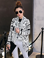 Women's Casual/Print Thin Long Sleeve Long Coat (Cotton Blends/Organic Cotton)