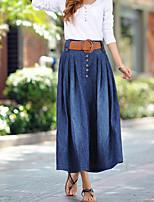 Women's Sexy Bodycon Micro-elastic Knee-length Skirt (Denim)