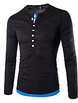 Men's Casual Pure Long Sleeve Regular T-Shirt