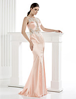 TS Couture Formal Evening Dress - Pearl Pink Sheath/Column Scoop Floor-length Satin