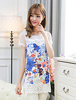 Women's Casual Plus Sizes Micro Elastic Short Sleeve Long T Shirt (Lace Mesh Cotton)