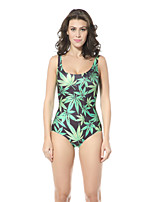 Women's High Elastic Green Leaves Print Swimsuit One Size