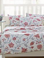 H&C 100% Cotton 1200TC Duvet Cover Set 4-Piece Red Flowers Pattern White Background HT-010