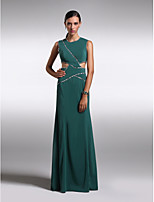 Formal Evening Dress - Dark Green Sheath/Column Jewel Floor-length Chiffon