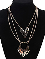 Women's Europe And The United States Multilayer Hollow Out Double Heart  Alloy Necklace Sweater Chain