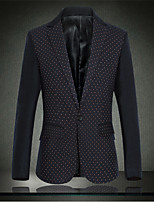 Men's Long Sleeve Regular Blazer , Cotton/Polyester Print