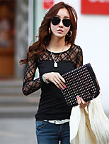 Women's Casual/Lace Inelastic Long Sleeve Regular T-shirt (Lace/Cotton Blends)