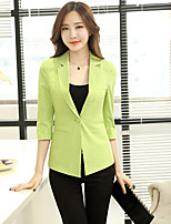 Women's White/Green/Yellow Blazer , Party/Work ¾ Sleeve