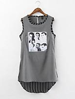 Women's Print/Striped Black T-shirt , Round Neck Sleeveless