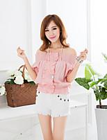 Women's Pink/Gray Blouse Short Sleeve