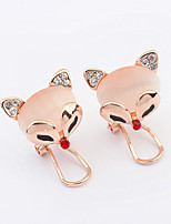Women's European Style Fashion Fox Opal Rhinestone Alloy Stud Earrings