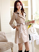 Women's Solid Pink/Black/Beige Trench Coat , Casual/Cute/Work Long Sleeve Cotton Lace
