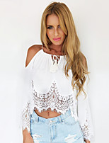Women's Solid/Lace White/Black Blouse , Strap/Bateau Long Sleeve Lace/Backless