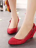 Women's Shoes Tulle Wedge Heel Wedges/Heels/Round Toe Pumps/Heels Wedding Red