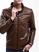 Men's Lattice Emboss Concise Leather Jacket