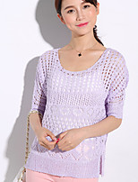 Women's Vintage/Sexy/Beach/Casual/Lace/Cute/Party/Work  Short Sleeve Regular Blouse