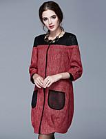 Large size women fall 2015 new seven quarter length coat shirt female hollow stitching work jacket autumn clothes